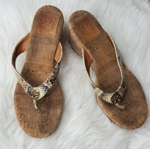Authentic Tory Burch Suzy Snakeskin Wedges 7